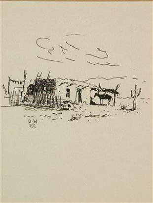 Olaf Wieghorst Pen & Ink DRAWING