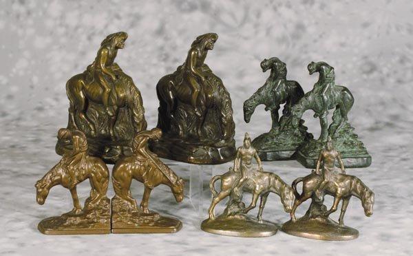 20: 4 Pr Indian on Horseback Bookends