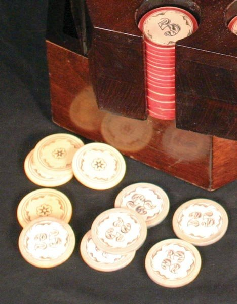 208: Great Rack of Ivory Poker Chips - 3