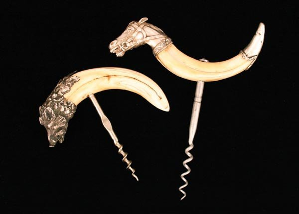 217: Pair of Ivory Cork Screws