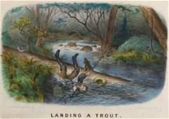 456 Landing a Trout HandColored Lithograph