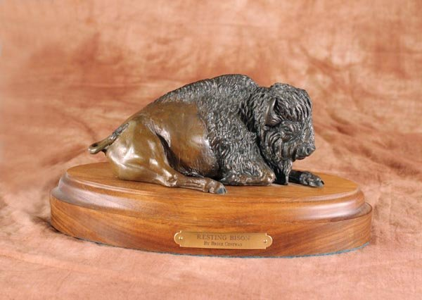 522: Resting Bison  Bronze by Bruce Contway (Montana)