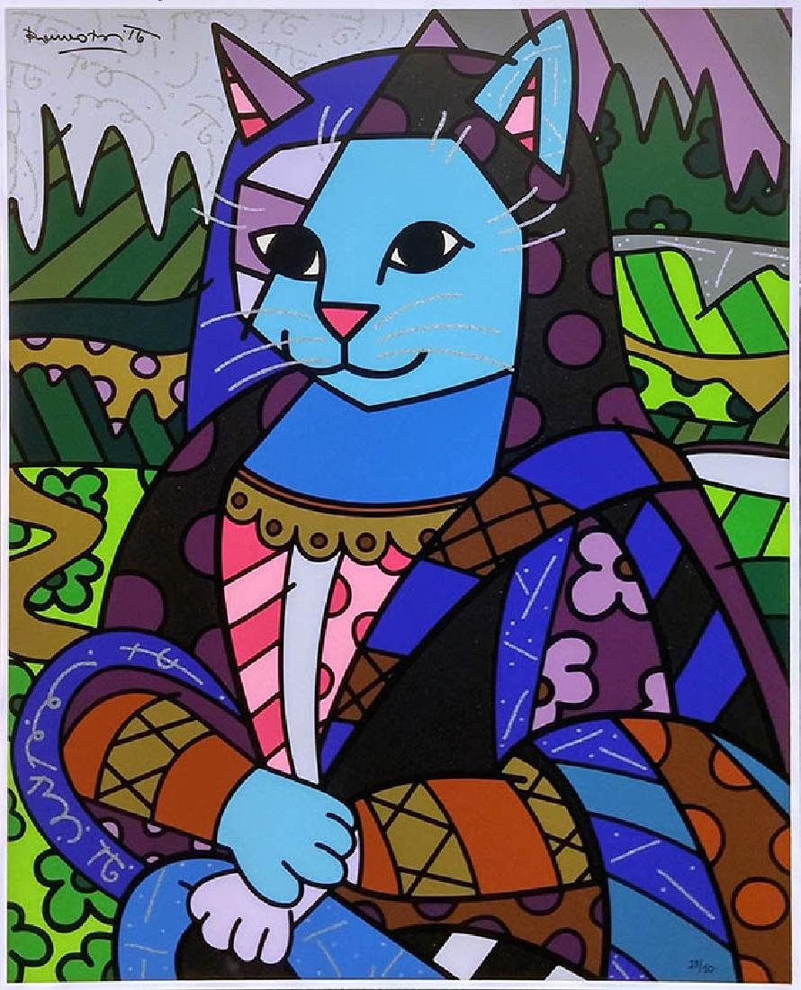 ROMERO BRITTO  Title: MONA CAT (ON GESSO BOARD)