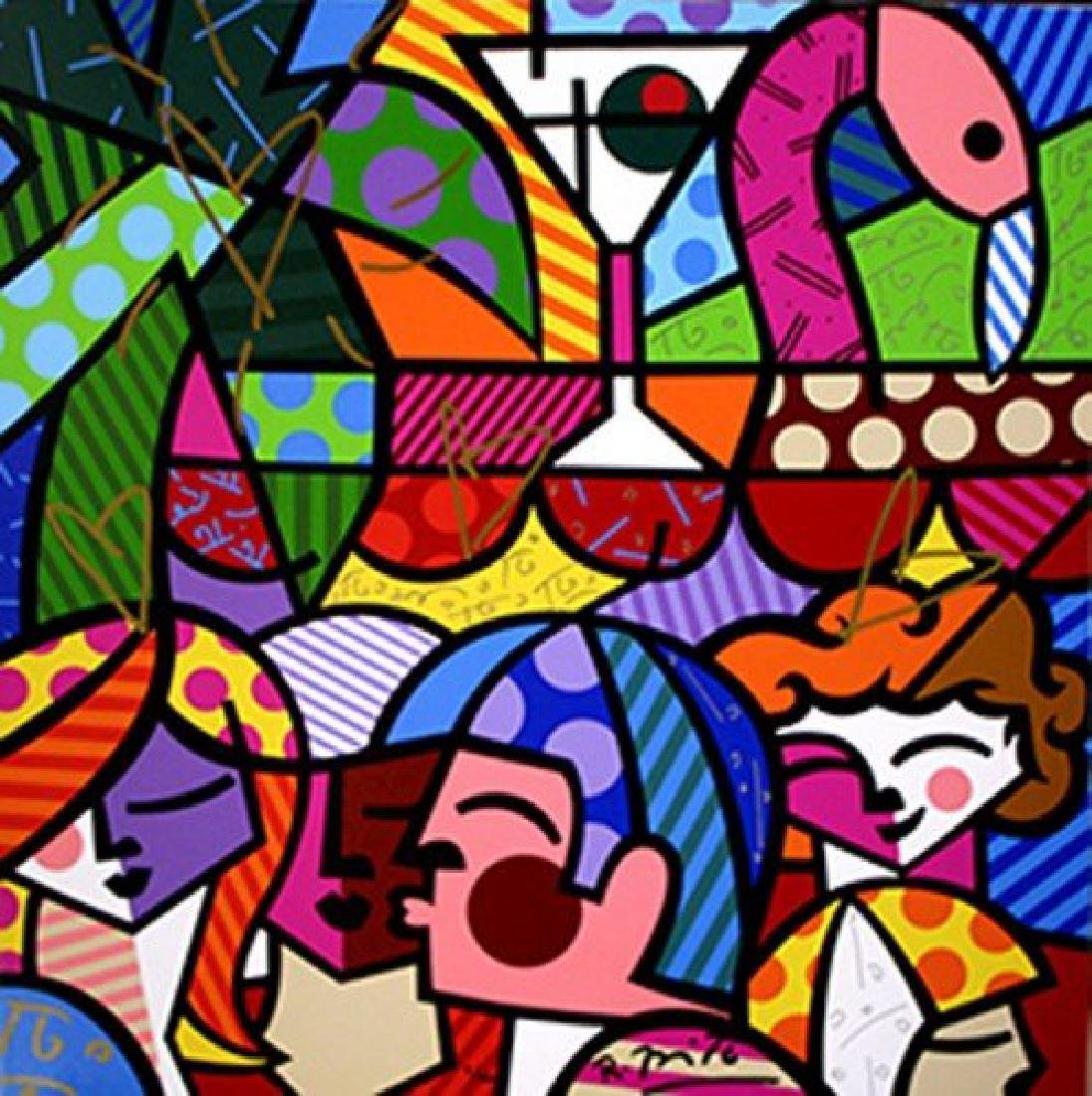 ROMERO BRITTO Title: NEWS CAFE GICLEE ON CANVAS