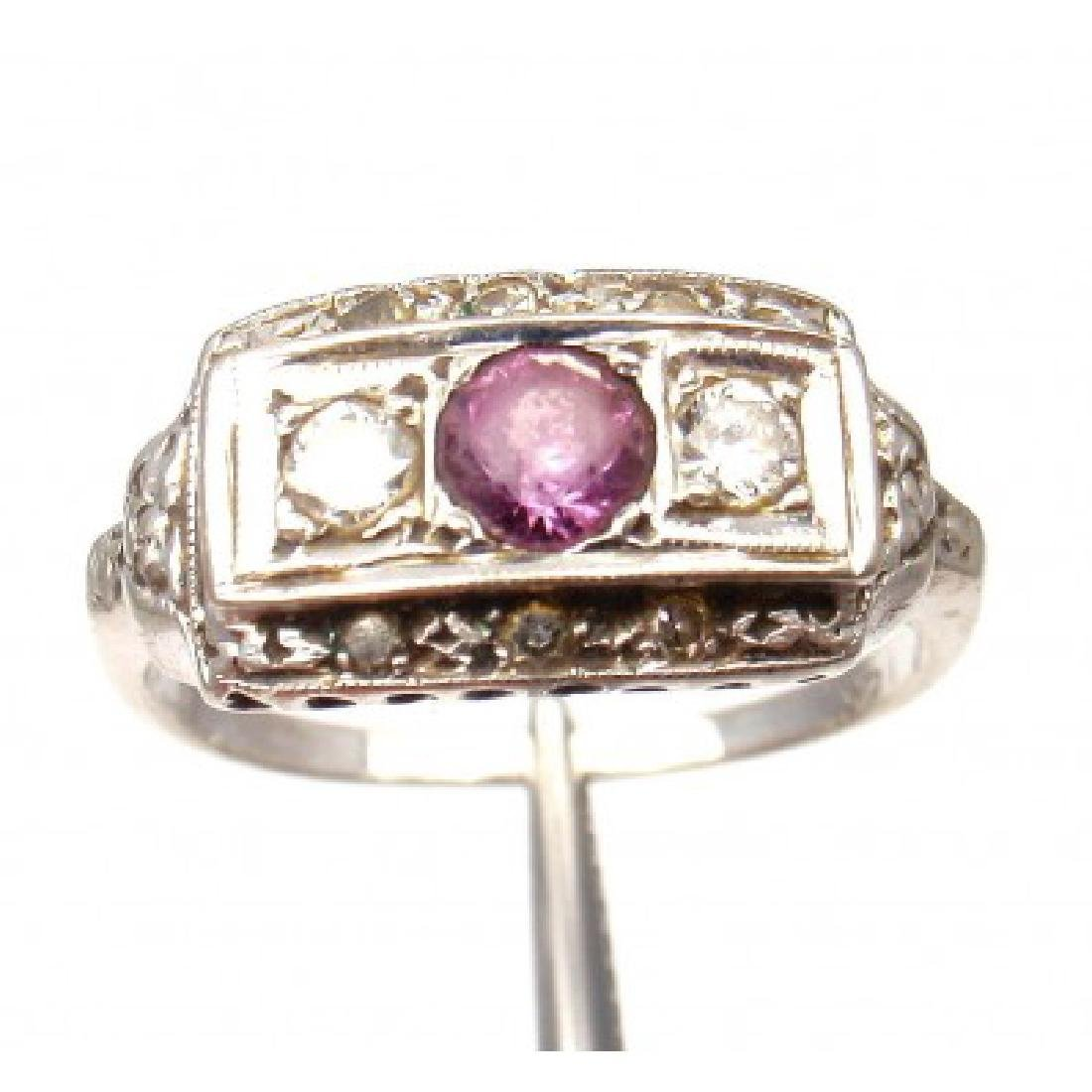 VINTAGE 14K  0.15CTW DIAMOND AMETHYST RING SZ 6.5