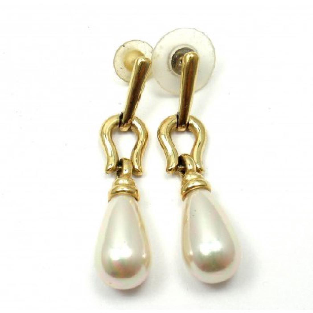 ESTATE YELLOW GOLD PEARL DROP EARRINGS - 3