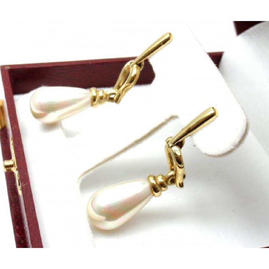 ESTATE YELLOW GOLD PEARL DROP EARRINGS - 4