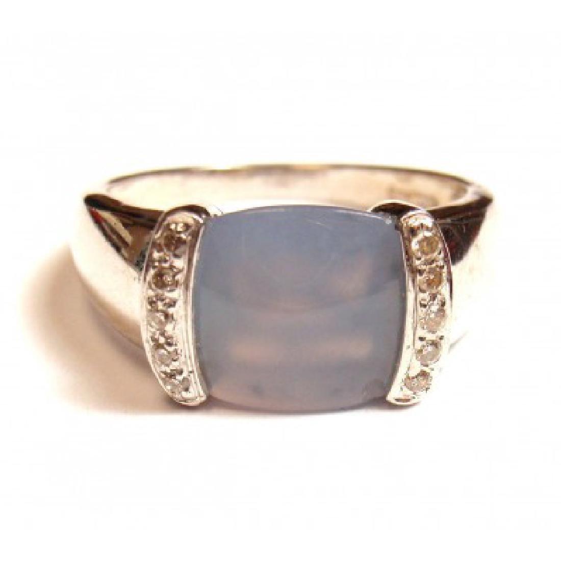 ESTATE 14K WHITE GOLD DIAMOND CHALCEDONY RING