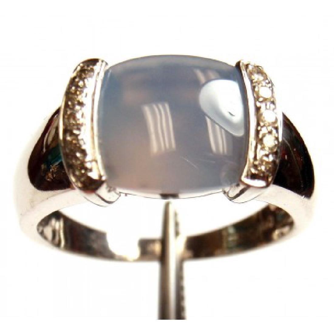 ESTATE 14K WHITE GOLD DIAMOND CHALCEDONY RING - 2
