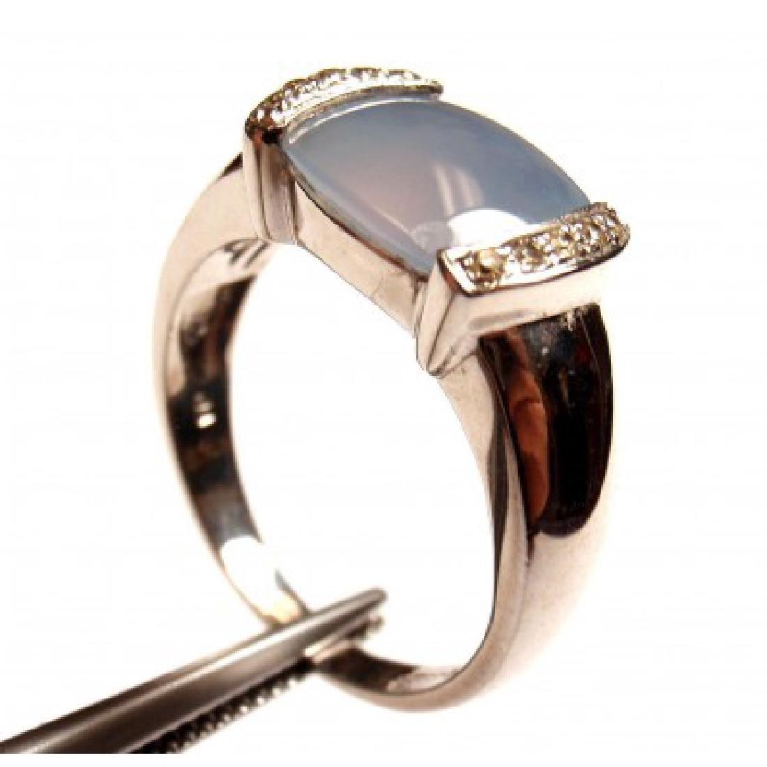 ESTATE 14K WHITE GOLD DIAMOND CHALCEDONY RING - 3