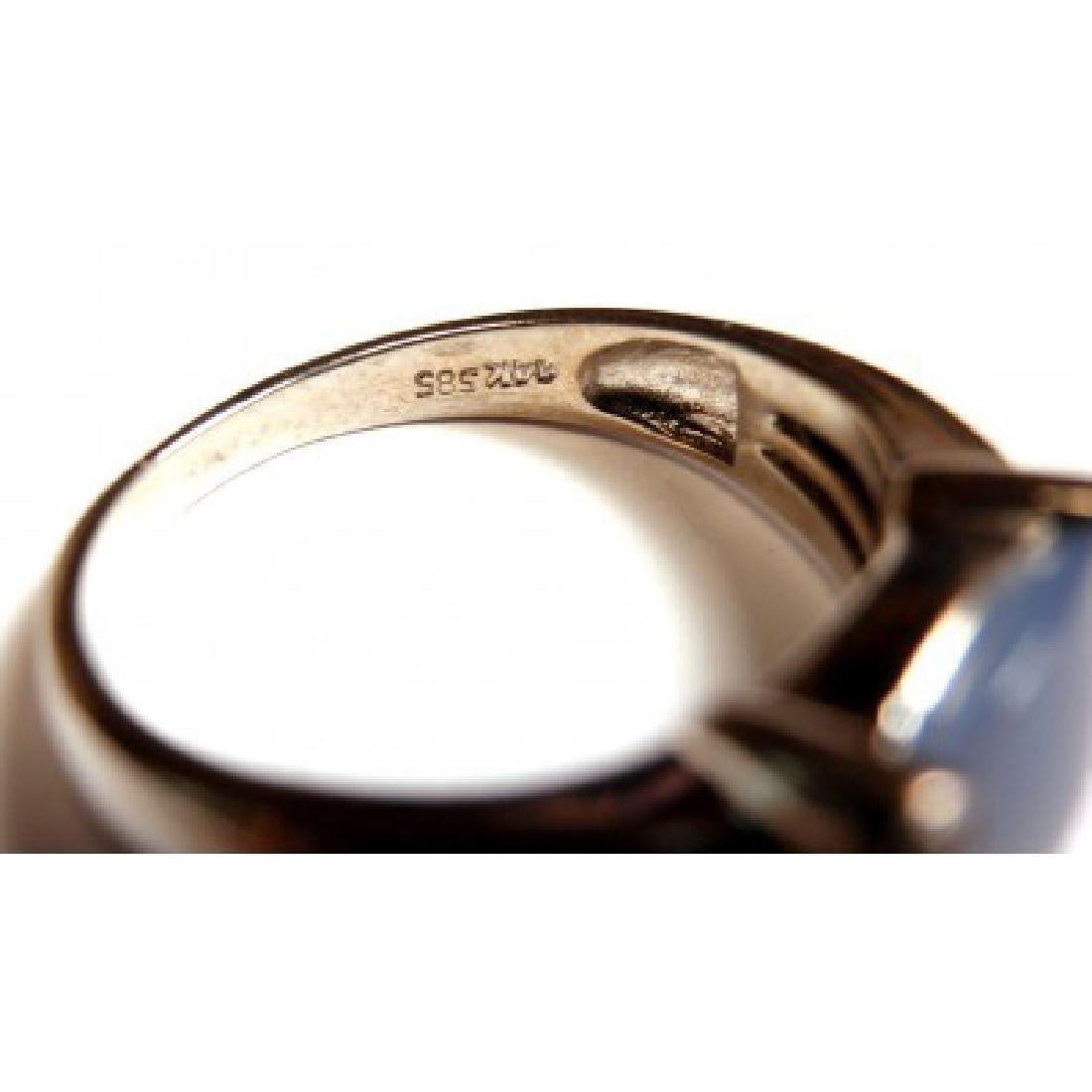 ESTATE 14K WHITE GOLD DIAMOND CHALCEDONY RING - 4