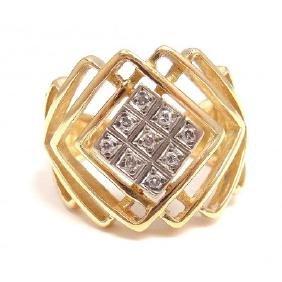 RARE ILIAS LALAOUNIS 18K DIAMOND CRISS CROSS RING