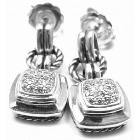 DAVID YURMAN RENAISSANCE DIAMOND SILVER CABLE EARRINGS