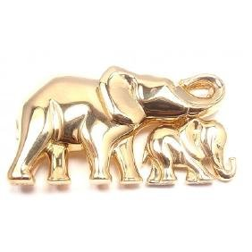 CARTIER ELEPHANT MOTHER CHILD 18K YELLOW GOLD BROOCH