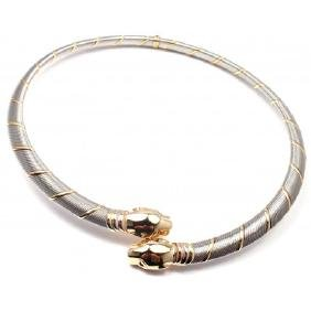 CARTIER PANTHERE 18K GOLD & STAINLESS NECKLACE