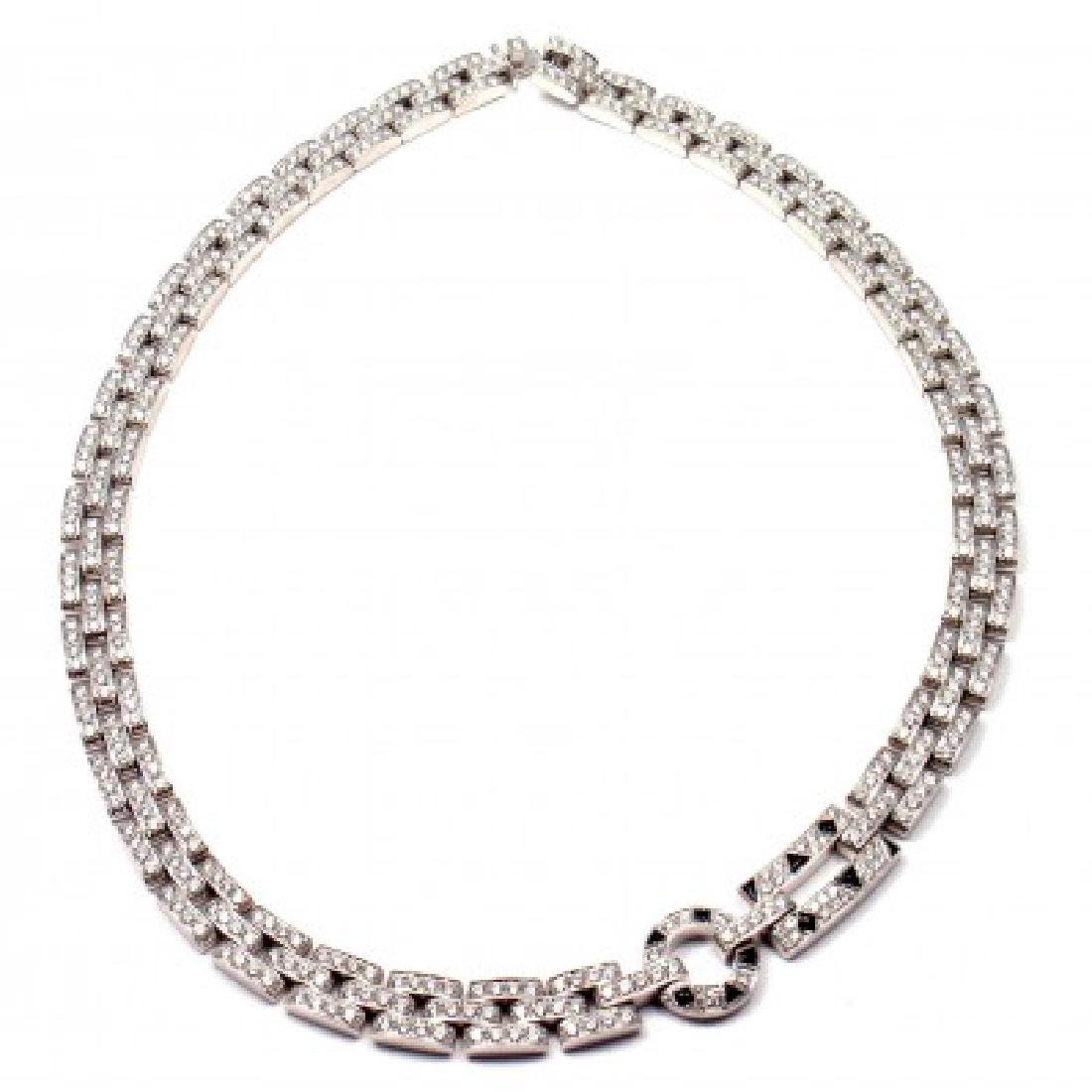 CARTIER PANTHERE MAILLON 18K DIAMOND ONYX NECKLACE