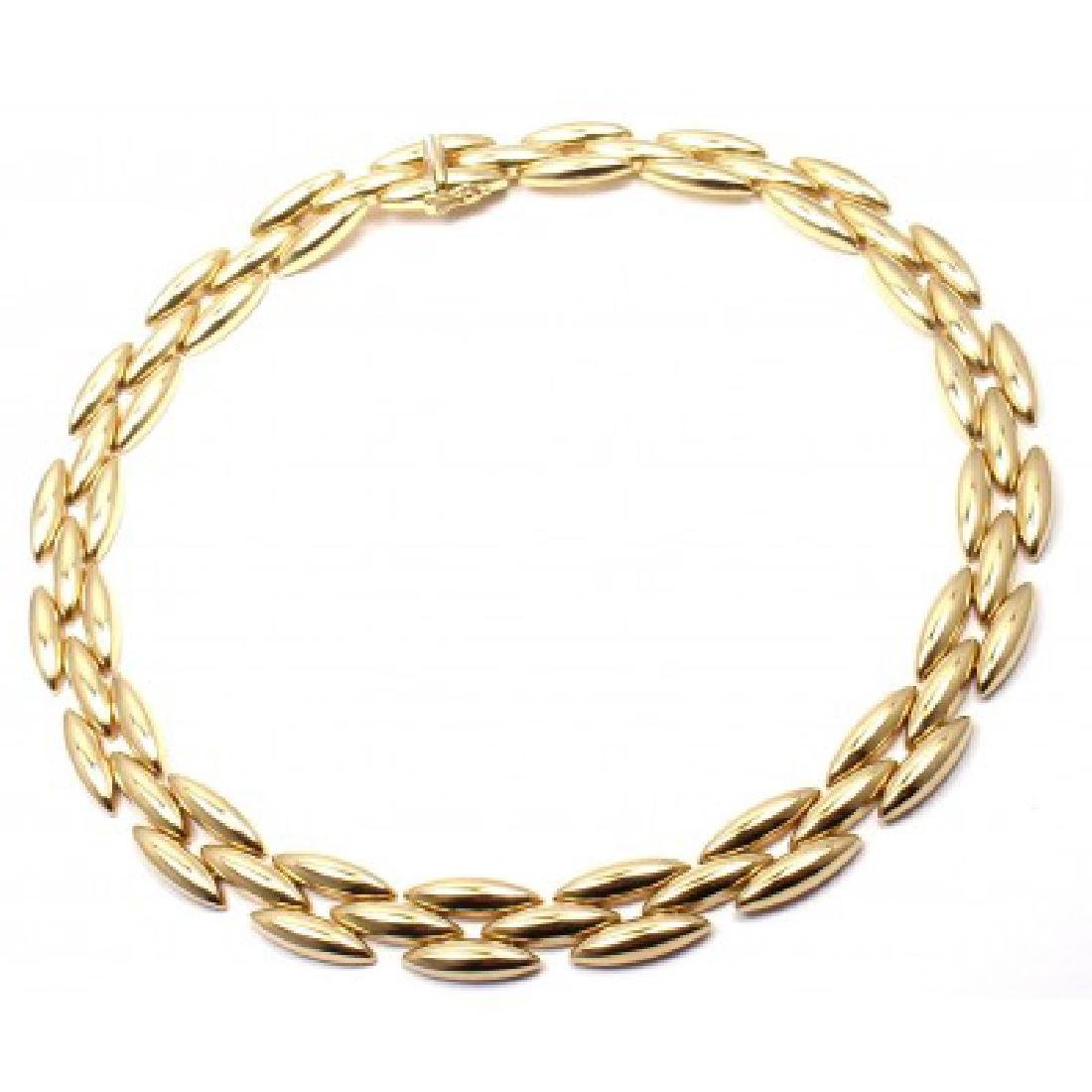 CARTIER GENTIANE 18K THREE ROW RICE LINK NECKLACE