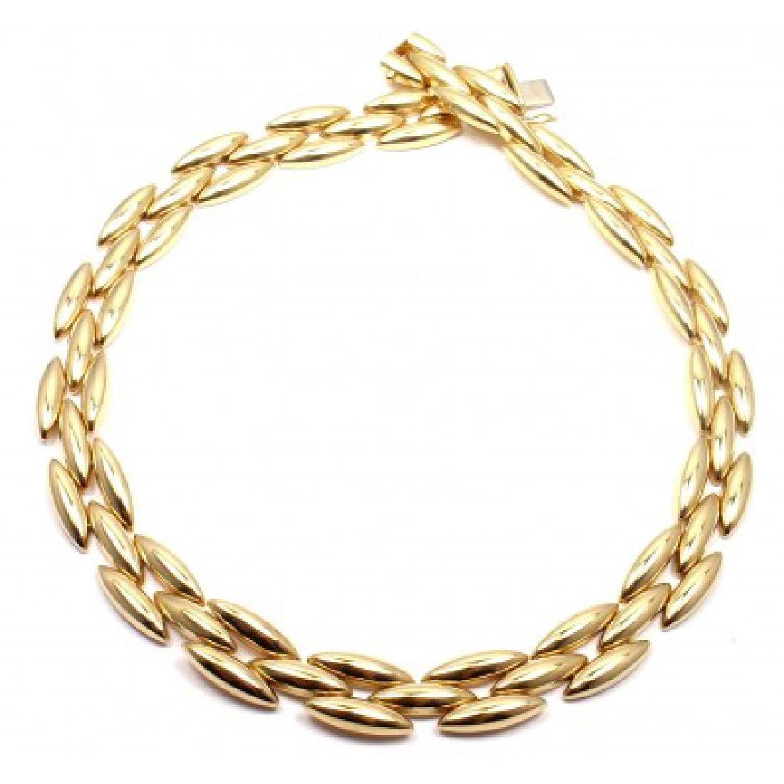 CARTIER GENTIANE 18K THREE ROW RICE LINK NECKLACE - 4