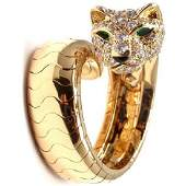 CARTIER PANTHERE 18K DIAMOND EMERALD RING