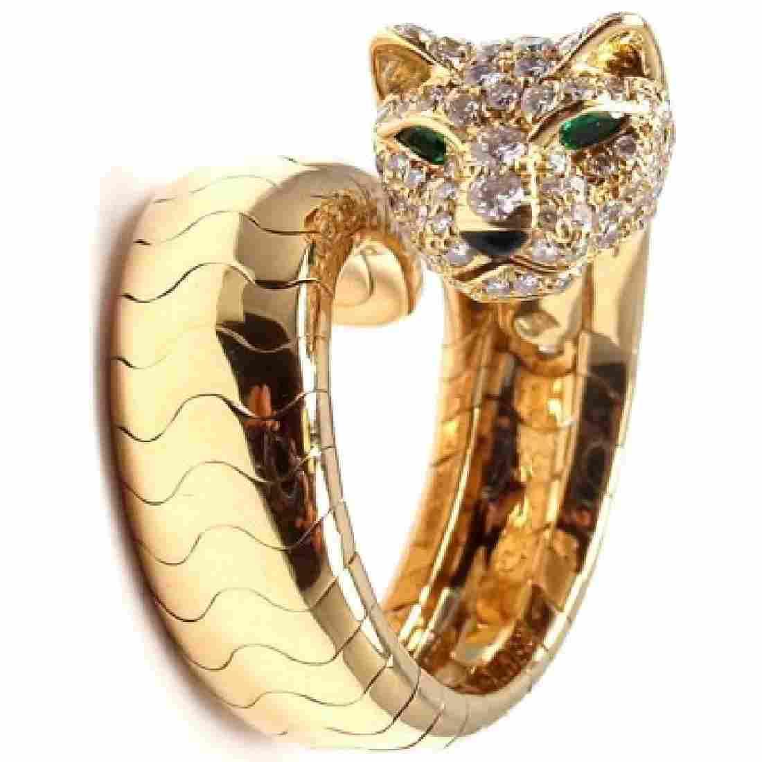 CARTIER PANTHERE 18K DIAMOND EMERALD RING