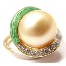 MIKIMOTO 18K DIAMOND LARGE 12MM GOLD PEARL ENAMEL RING
