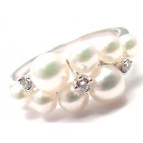 MIKIMOTO 18K WHITE GOLD DIAMOND PEARL RING