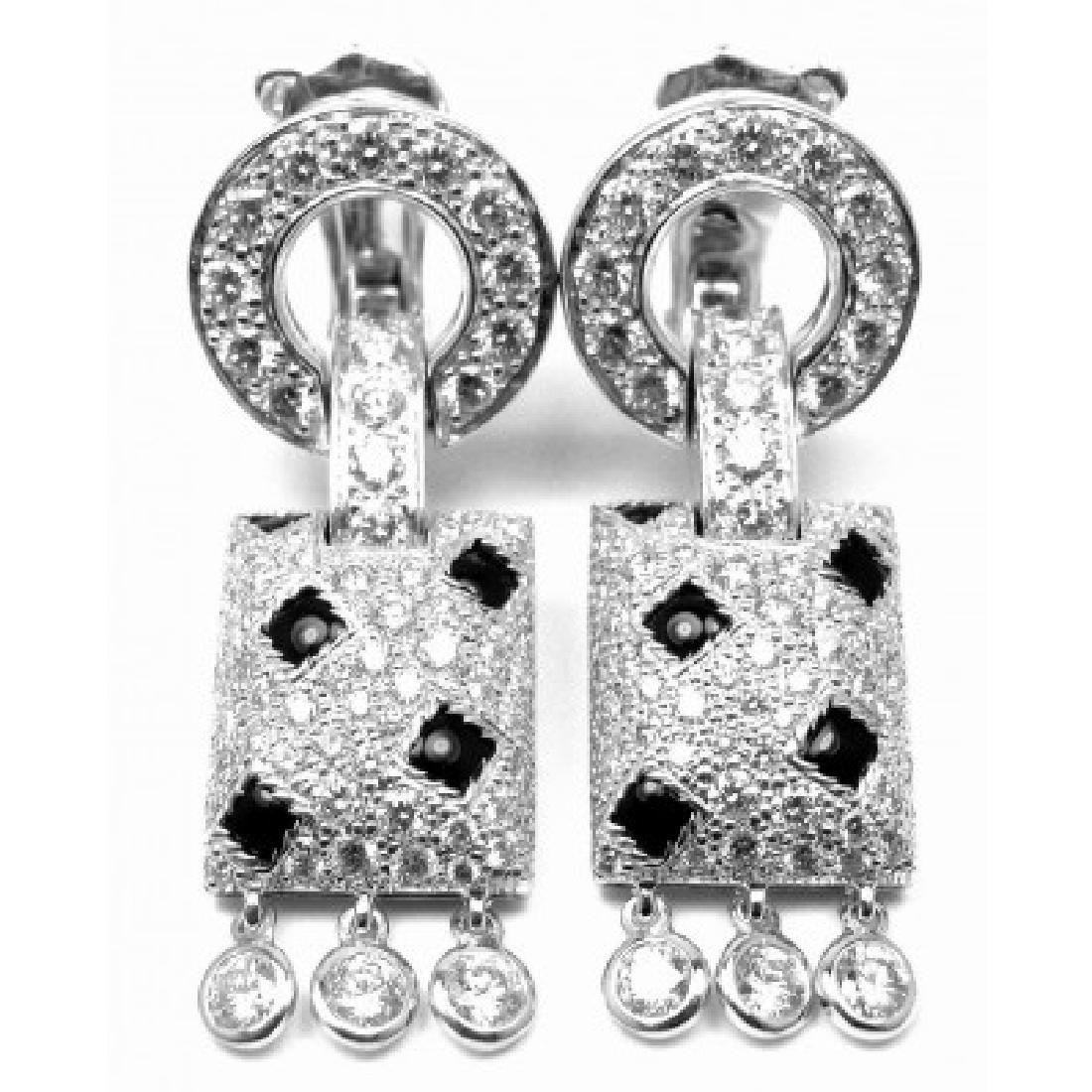 CARTIER PANTHERE 18K WHITE DIAMOND BLACK ONYX EARRINGS