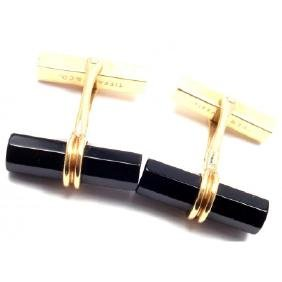 TIFFANY & CO 14K YELLOW GOLD BLACK ONYX CUFFLINKS