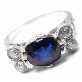 CARTIER PLATINUM SAPPHIRE DIAMOND RING