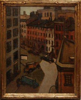 JOHN SLOAN OIL PAINTING ON BOARD OF STREET SCENE