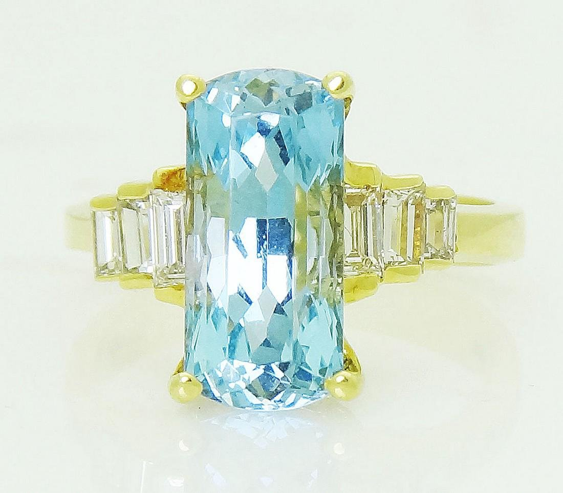 18k Yellow Gold Ring With Hampton Blue Topaz & baguette