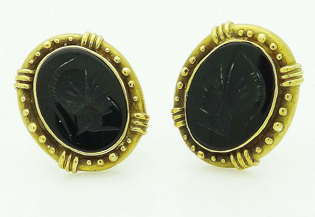 14k Yellow Gold Intaglio Black Onyx Earrings