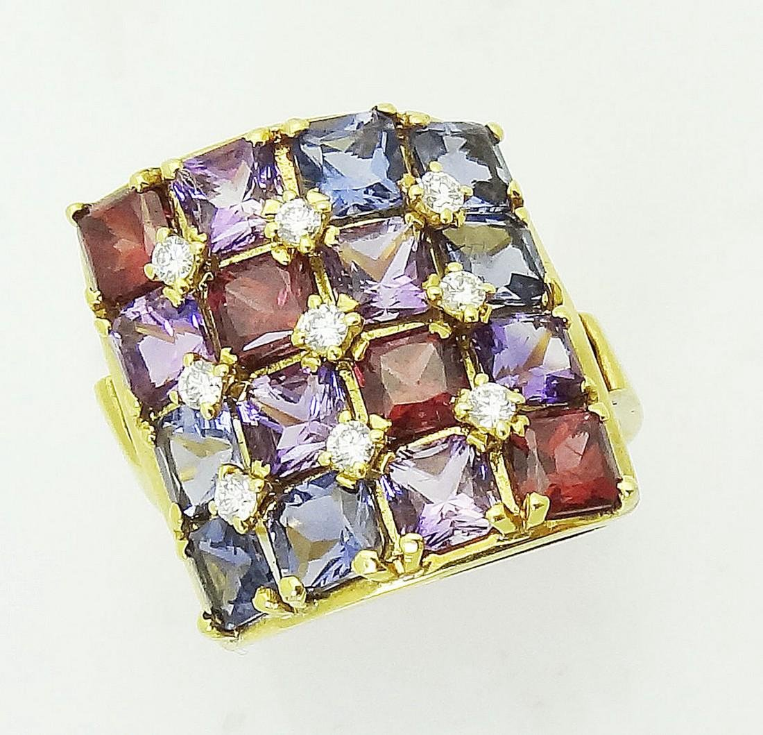 Designer 18k Yellow Gold Amethyst Garnet And Diamond