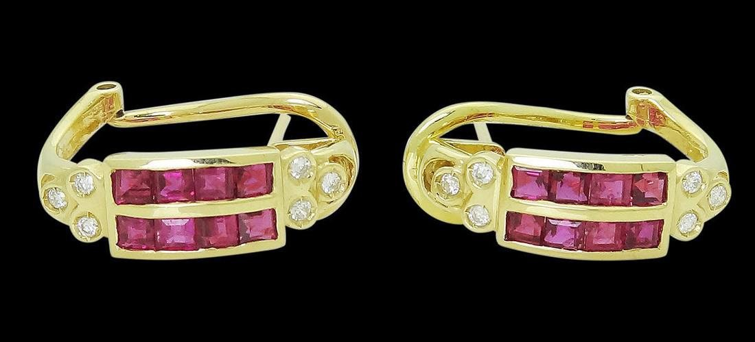 18kGold 2.50 TCW Ruby & Diamond Set Earrings & Ring