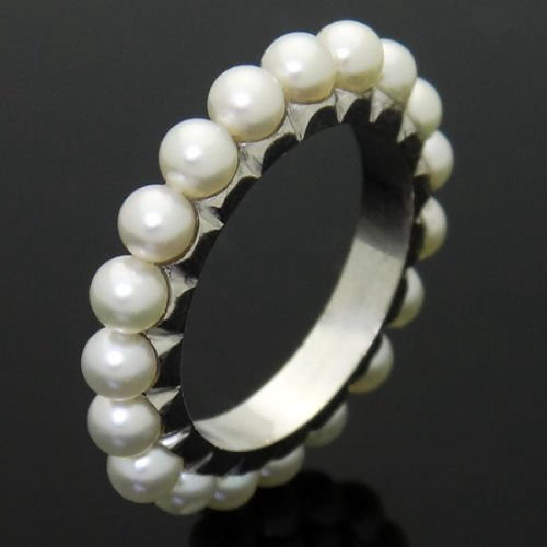 Estate 18k White Gold & Cultured Pearl Eternity Band