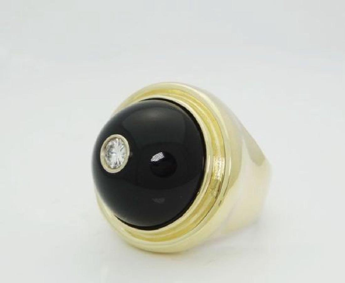 14k Gold Cabochon Black Onyx & 0.40ct Brilliant Diamond