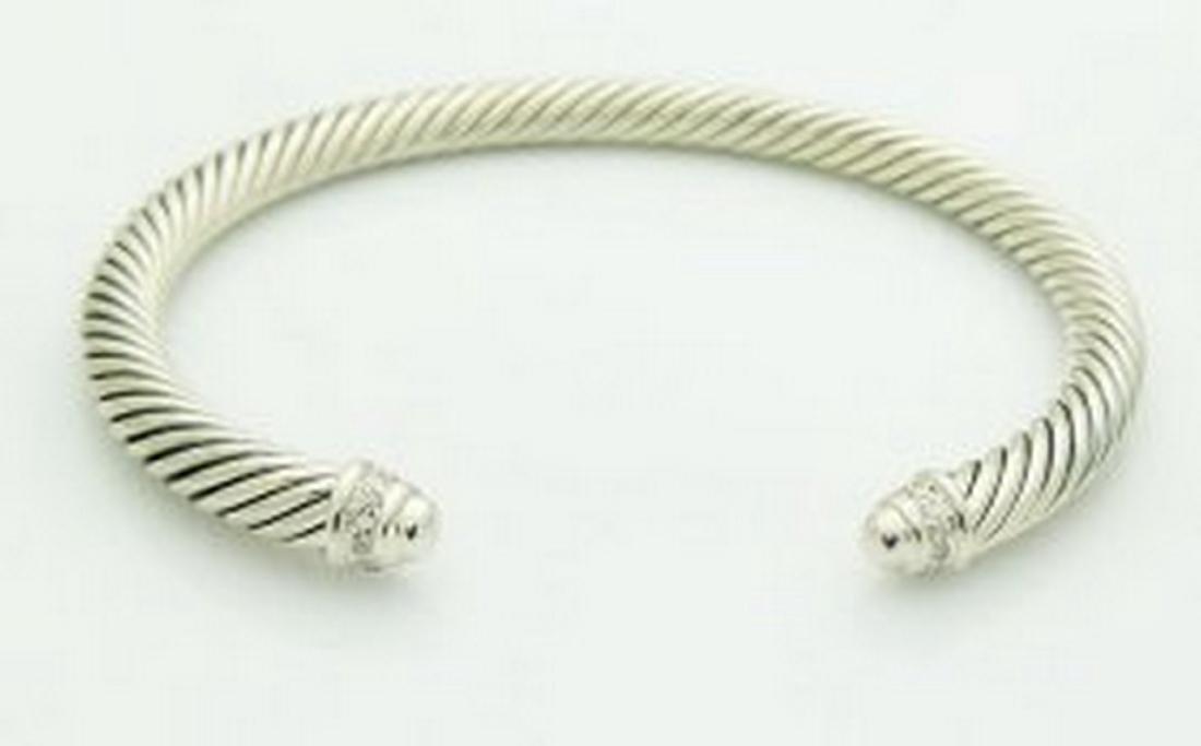 David Yurman Silver Classics Diamond Cable 5mm Bracelet