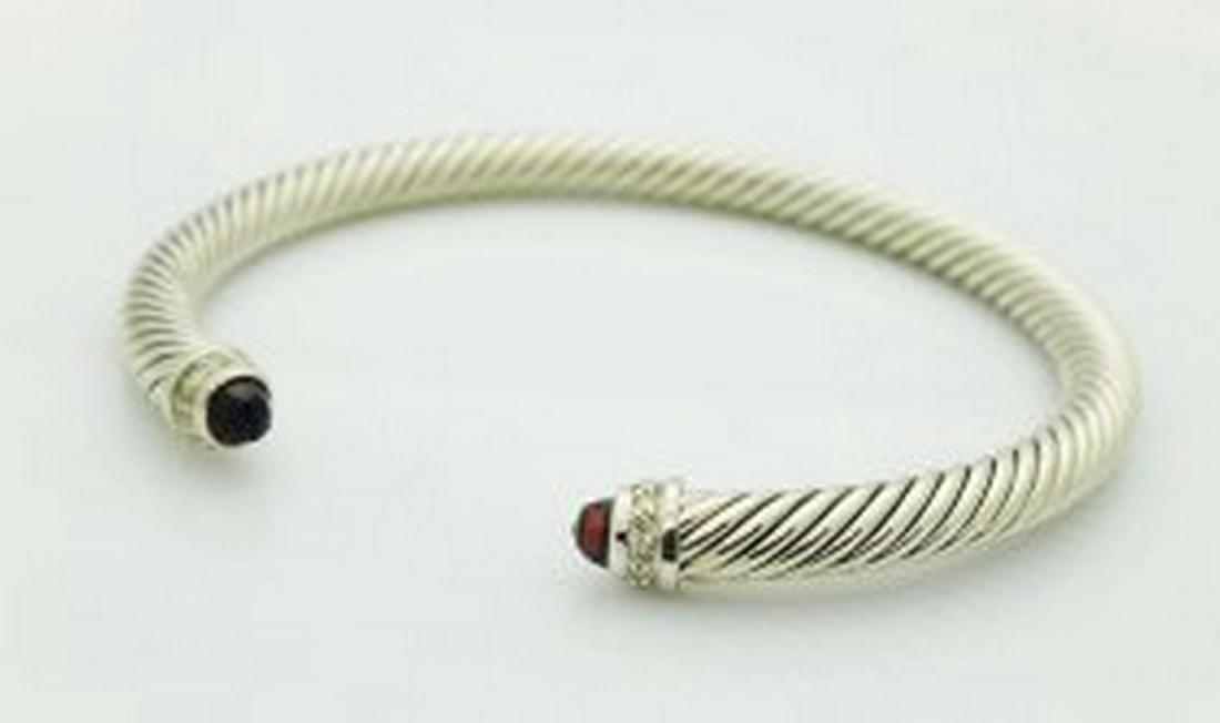 David Yurman Silver Cable Diamond Garnet Bracelet