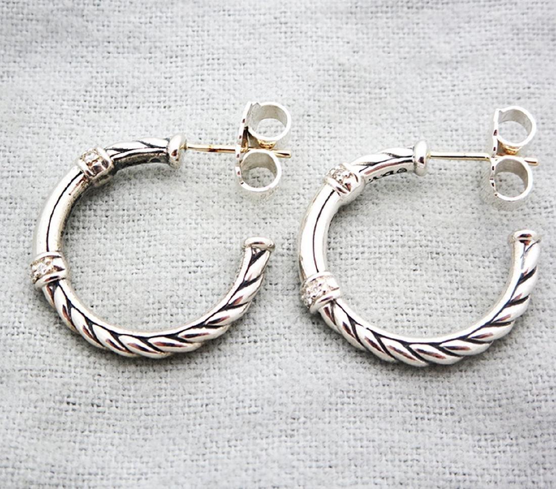 David Yurman Sterlig Silver Diamond Metro Hoop Earrings