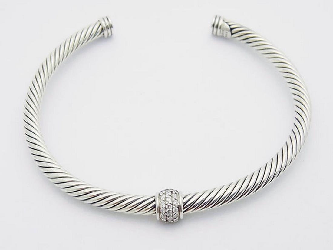 David Yurman 925 Silver Cable  4mm Bracelet & Diamond