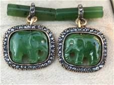 RUSSIAN GOLD DIAMOND JADE ELEPHANT CUFFLINKS