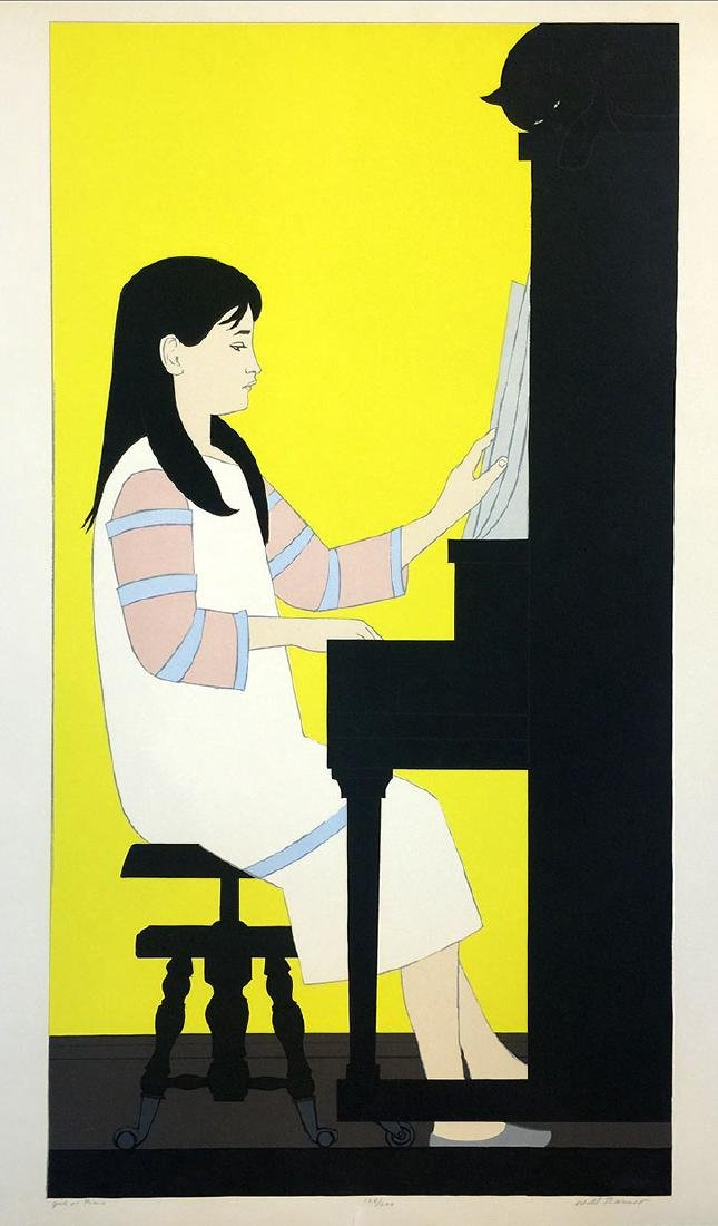 WILL BARNET Title: GIRL AT PIANO Lithograph