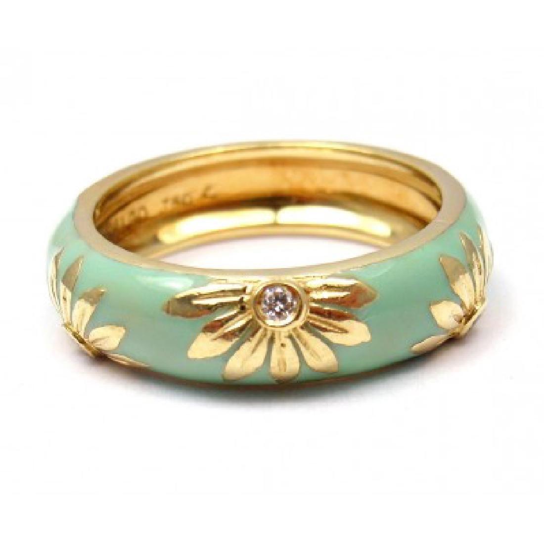 HIDALGO 18K YELLOW GOLD BLUE GREEN ENAMEL DIAMOND SUN