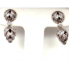 JOHN HARDY 925 18K 0.50CTW DIAMOND WEAVE DROP EARRINGS