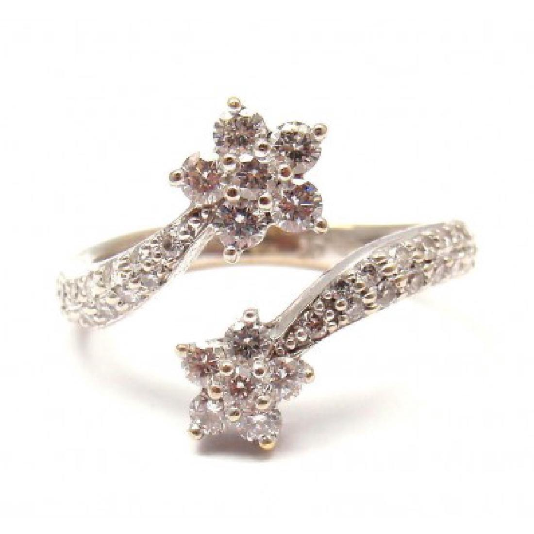 VINTAGE 18K WHITE GOLD 0.62CTW DIAMOND CROSSOVER FLOWER