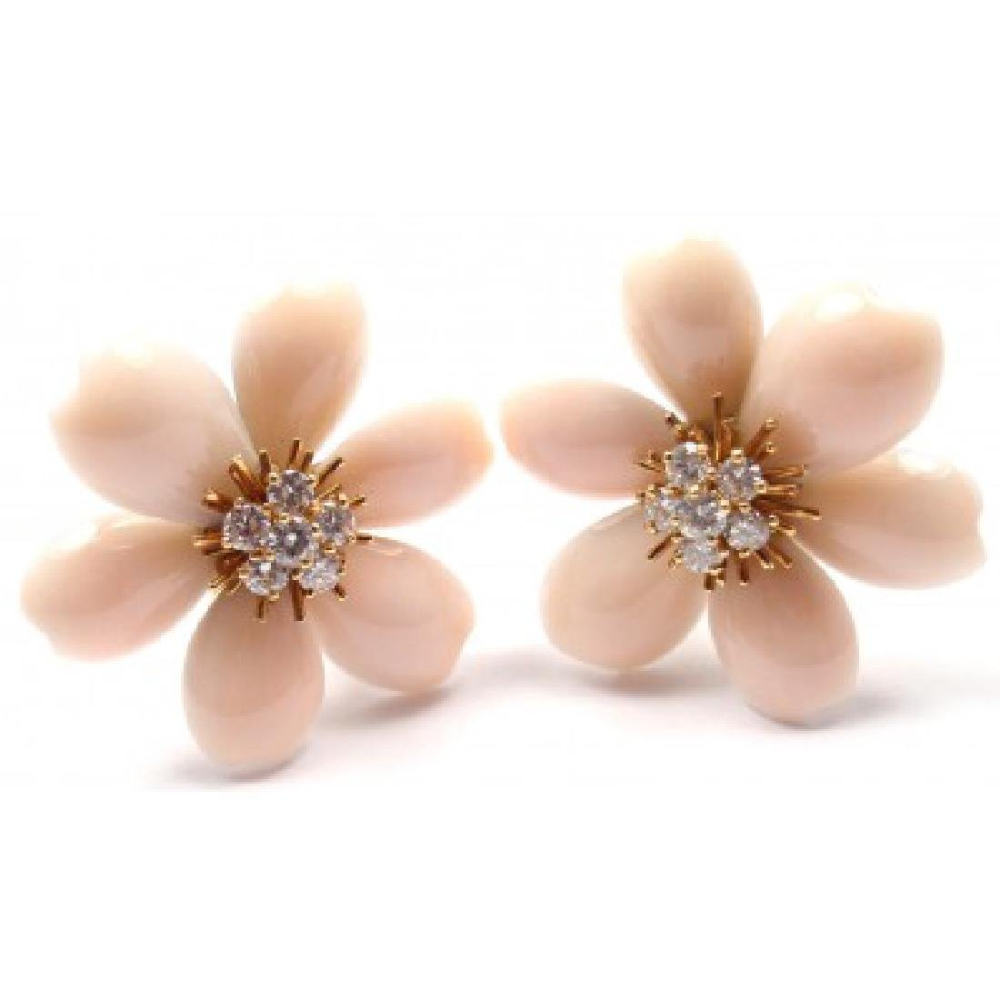 VAN CLEEF & ARPELS ROSE DE NOEL 18K DIAMOND CORAL