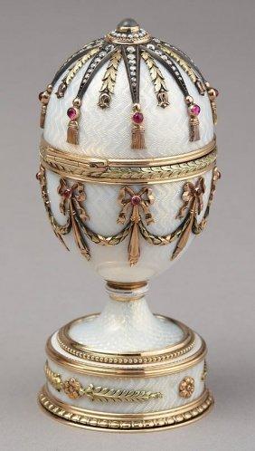 RUSSIAN FABERGE STYLE GOLD ENAMEL DIAMOND EGG