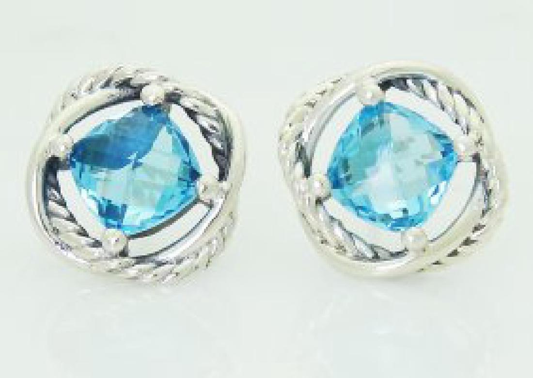 David Yurman 925  Silver Infinity Blue Topaz Earrings