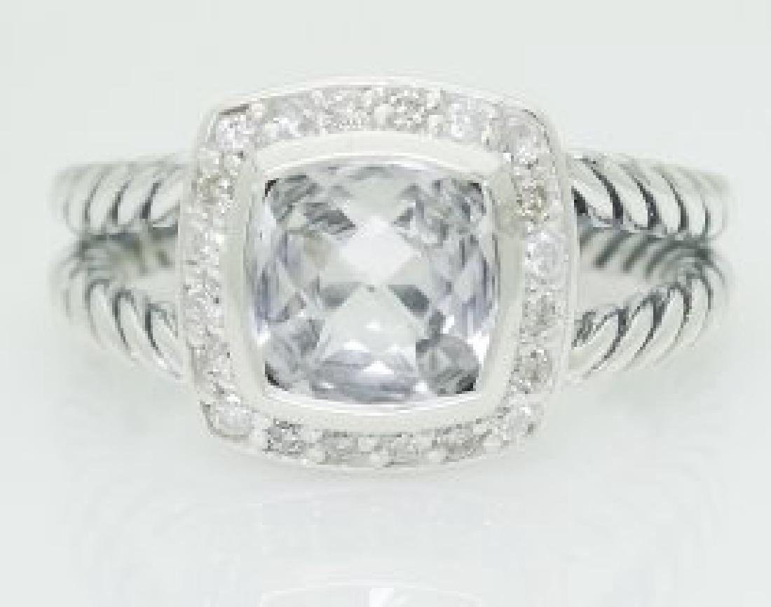 David Yurman 925 Silver White Topaz & Diamond Ring