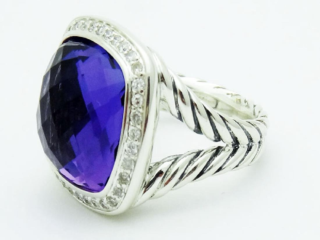David Yurman Silver Albion Ring Amethyst & Diamonds